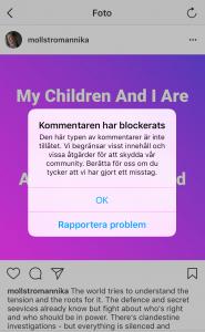 Yttrandefrihet. Instagram.