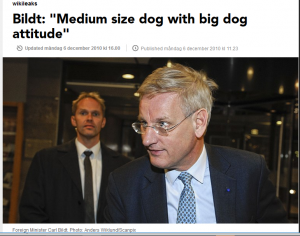 """This is a clear example of the US favourite metaphor """"The dog"""". Swedish top diplomat and politician was described in terms of a dog. Leaked information from the US Embassy to Sweden 2010. http://sverigesradio.se/sida/artikel.aspx?programid=2054&artikel=4223738"""