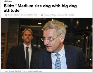 Ett mycket tydligt exempel på USA:s svaghet för att beskriva människor som hundar. I det här fallet härrör innehållet från läckta dokument från USA:s ambassad i Stockholm 2010. http://sverigesradio.se/sida/artikel.aspx?programid=2054&artikel=4223738
