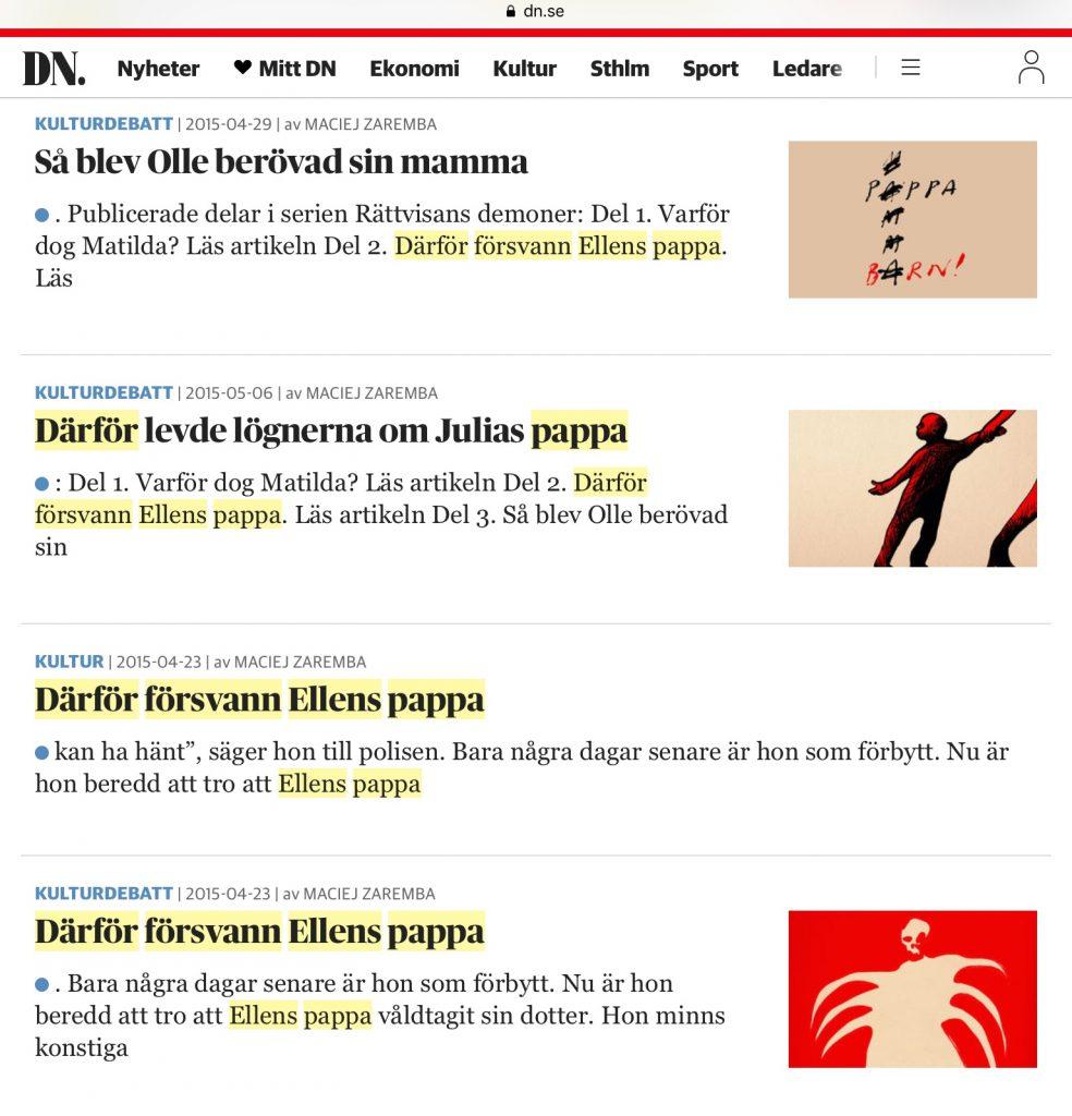 Artikelserie i DN av Maciej Zaremba 2015.