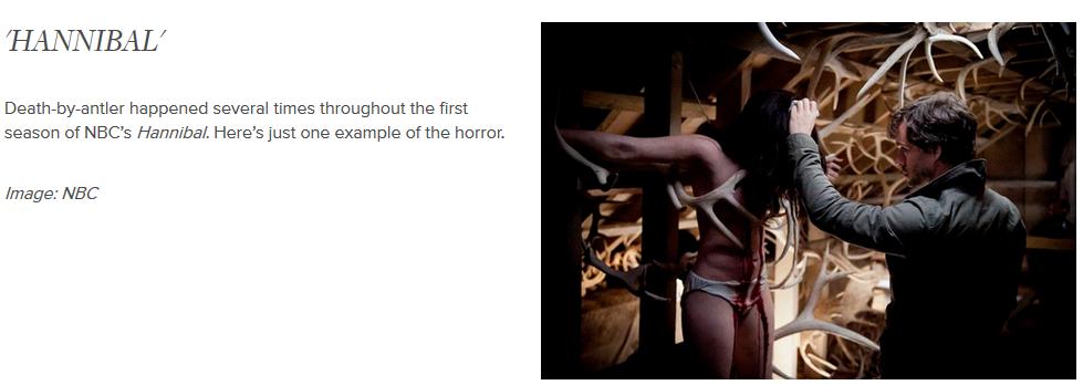 Den brittiska webbplatsen Bustle publicerade nyligen en artikel om (det dödliga) rådjurstemat i filmer. Här är ett exempel. Fler exempel och hela artikeln hittar du här: https://www.bustle.com/articles/13165-game-of-thrones-true-detective-prove-antlers-are-tvs-hottest-instrument-of-death