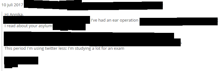 """A Twitter friend who used to provide support backs off. Note the """"hearing disorder"""" and the need for studying, aka """"going to school""""."""