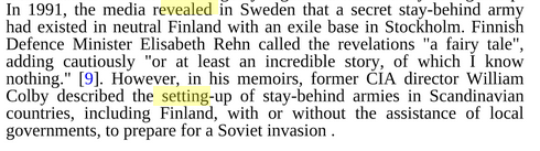 "The Defence seem to frequently refer to fairy tales instead of telling the truth . This is Finnish Ministry of Defence Elisabeth Rehn when confronted with the Finnish NATO secret armies Gladi,o also called Staybehind. It is considered a sensitive topic, especially in the Nordic countries. Courtesy Google Books. ""Global Secret and Intelligence Services"" by Heinz Duthel"