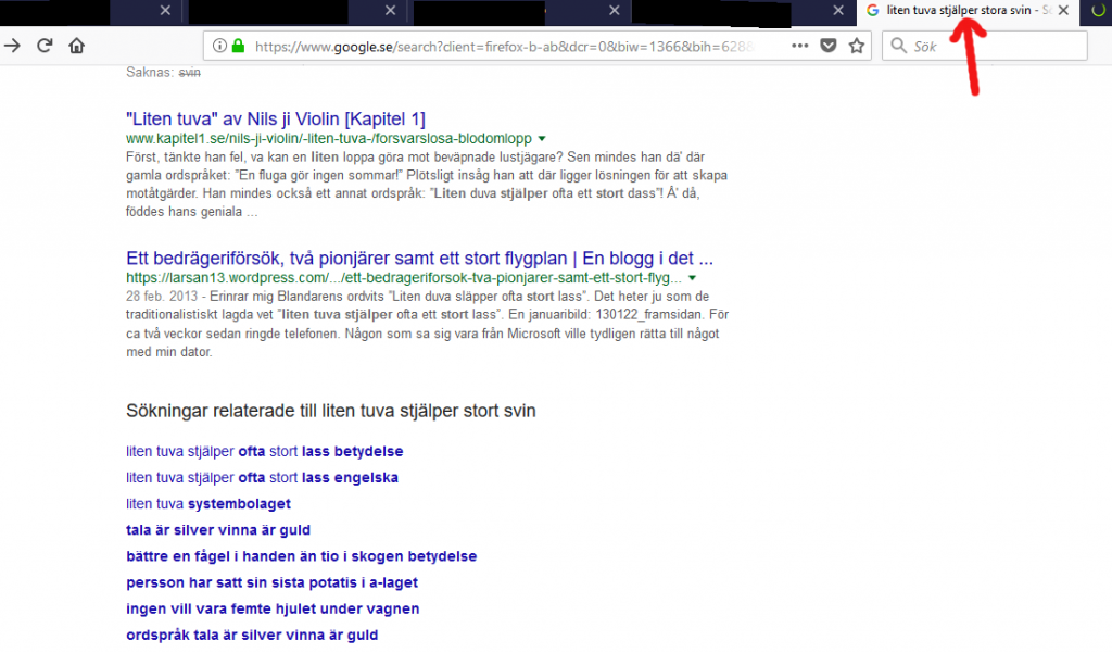 """I entered the search phrase """"Liten tuva stjälper stora svin"""" which is a slightly altered version of a Swedish proverb. Look at the search results and recommended related search phrases. Very telling."""