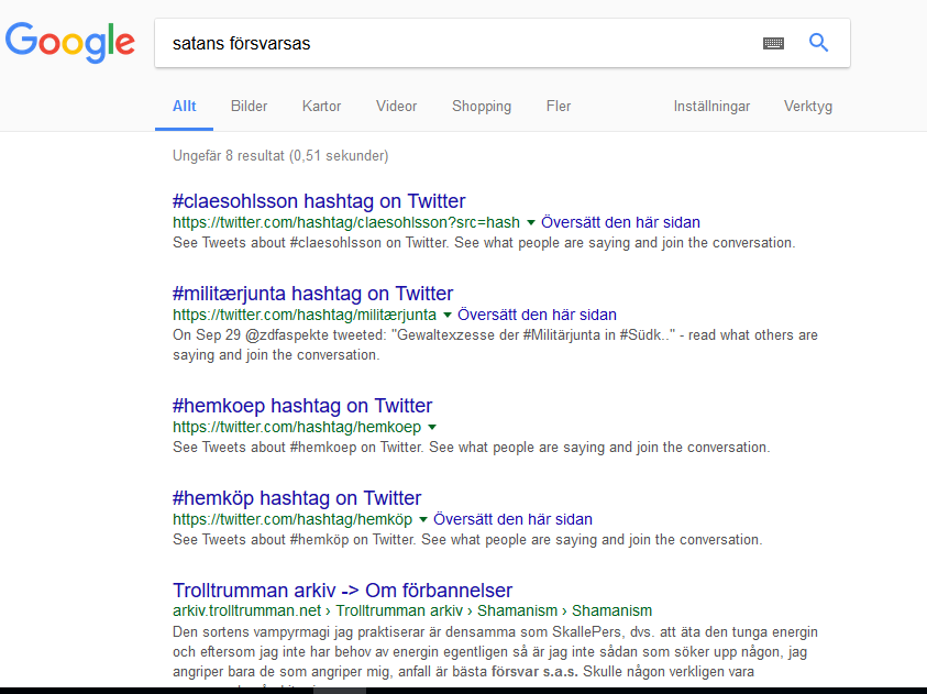 """I admit, I typed the search """"Asshole Swedish Defence"""" which in Swedish is close to """"satans försvarsas"""". Imagine my surprise when these search results came up. I just had to continue to see what else they had to tell me. Some is desinformation, I can tell from experience. This is true - it shows some of the defence allies in retail."""