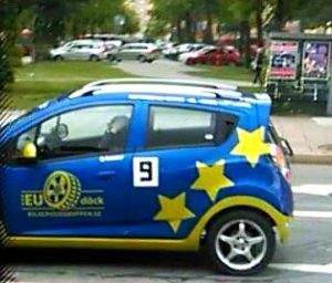 This car drives around me a lot of the time. The European Union thinks I am very resilient. How about that? This car showed up the very first day after I got out from the psychiatric asylum this spring, after being locked up for two months. The European Union prides itself with values of human rights.