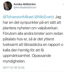 My reply to them is that it's a quite questionable strategy for an authority - who is supposed to educate Sweden in psyops and propaganda. It's just not appropriate. They are not supposed to blur the truth. Their job is to be the solid rock of truth. I would not truts their information in a tense situation. Nor do I trust their analysis, for that matter. Failing to recognize that Swedens authorities and courts do not function is a rather big gap. Too big.