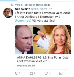 "Here is another recent launch of fears of Russian meddling in Swedish election. The same profiles are involved - it's their job of course. But in that case, you had better be more aware. This tweet is an article built around a ""secret, leaked"" report that MSB handed over to Swedish authorities. Now, that report was neither secret nor leaked. It was intended to show up in media. It's a PR-trick to make it shine. People are all ears when things are ""secret and leaked""."