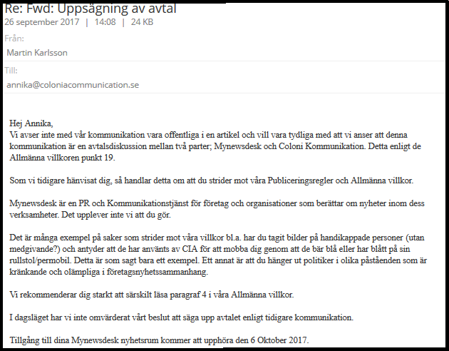 Conversation with the Swedish manager of My Newsdesk when they terminated my account.