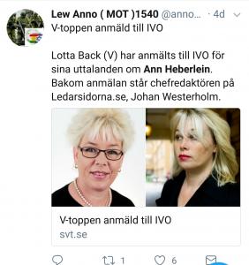 Back IVO-anmäldes för sitt uttalande. Dock kräver hela incidenten en djupare granskning av professionalismen och integriteten inom psykiatrin, en norm-diskussion samt en diskussion om det politiska klimatet i Sverige där avvikande politiska åsikter klassas som psykisk sjukdom. Det finns fler exempel på det. Däremot gör alla medier som SvT i dumpen ovan - de återger okritiskt hela förfarandet.
