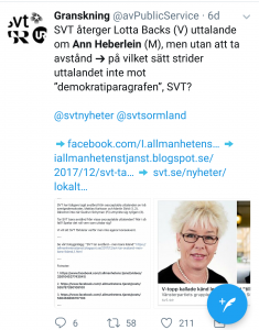 This Twitter-post notes that the national Swedish Television did not include any criticque of Backs attack. There are different types of journalism of course. But the entire issue is raising questions that should be addressed. Not only in Sweden. European civil rights organization AEDH has also been tasked to investigate abuse of psychiatry in the European Union.