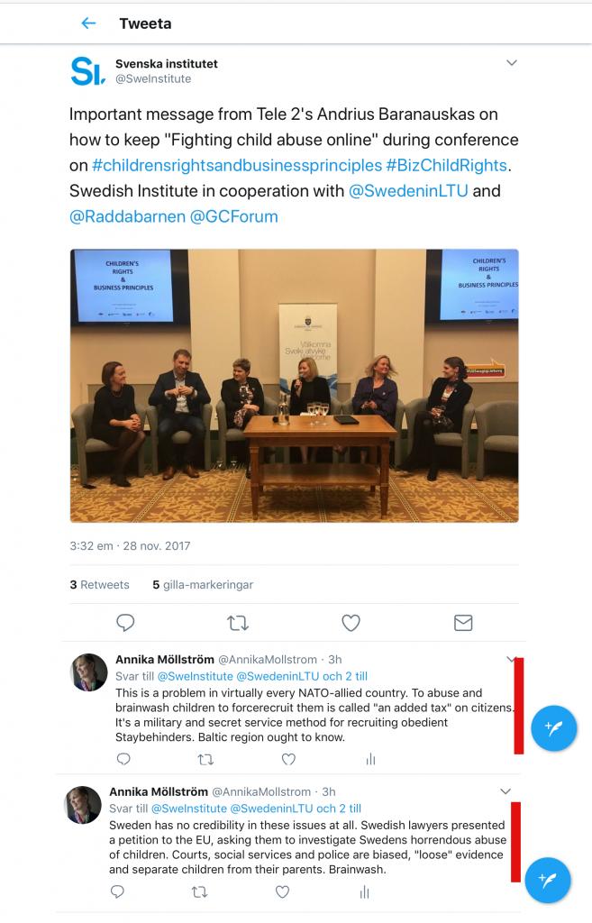 Det här Twitter-flödet vittnar om att Rädda Barnen inte har lyssnat på mina upprop över huvud taget. De har fått många mail av mig om den gräsliga situationen för barn i Sverige. Här sitter de med Svenska Institutet i Baltikum och framstår som en förebild. Det är plågsamt. De bryr sig inte alls om att Nordiska Kommitten för Mänskliga Rättiigheter har tvingats lägga fram en petition i EU för att begära att de svenska grova bristerna i barnrätt granskas - domstolar, socialtjänster och andra myndigheter bidrar till rättsrötan. De bekommer varken Rädda Barnen eller Svenska Institutet.