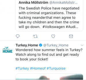 This is just a recent example of how the manipulated algorithms of Twitter. In the winter of 2018, I verbally vomit my anger and criticize Sweden for taking my children. When I log in the next time, Twitter shows me this tweet from Turkey Home. Just to give you an idea of how algorithms on social are used for communication purposes. This is not the first time, of course. You need to know that your children are exposed to this as well, and they lack the skills to understand this manipulation.