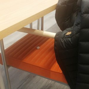 The eraser is clearly visible on the chair where I put my jacket Now, things like this have happened a dozen of times. This is not a coincidence. The eraser is used to tell me to erase/delete my blog post from last night. That's MUST.