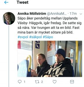 March 2017. Secret Service gets on the train Upplands Väsby-Häggvik. But officially, they don't exist, either.