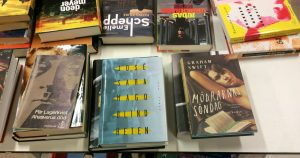 The book table in the middle of the book section. Notice the titles. They even included Blindness and Mothers.