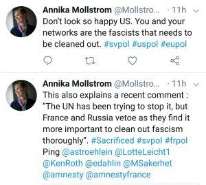 Ja, så fort Twitter hade svalt mitt inlägg om ryssarnas och fransmännens veton så skickar USA ut sitt folk med tröjor prydda med Union Jack. Märker ni att sossarna, Margot Wallström och USA har en del gemensamt? Den totala bristen på självkritik. Självbespegling och förhärligande. Noll självkritik. Och så fort man nämner ett ord som börjar på R och slutar på -yssland så hugger de snabbare än en kobra. Ännu en chans att slippa ta ansvar för sina egna vidriga genocides. Ja, inte är det smickrande. Det kan man verkligen inte säga. Det är ju USA och CIA som ytterst bär skulden för fascismen vi ser. Läs din historia. Sen kan vi prata. Inte förr.