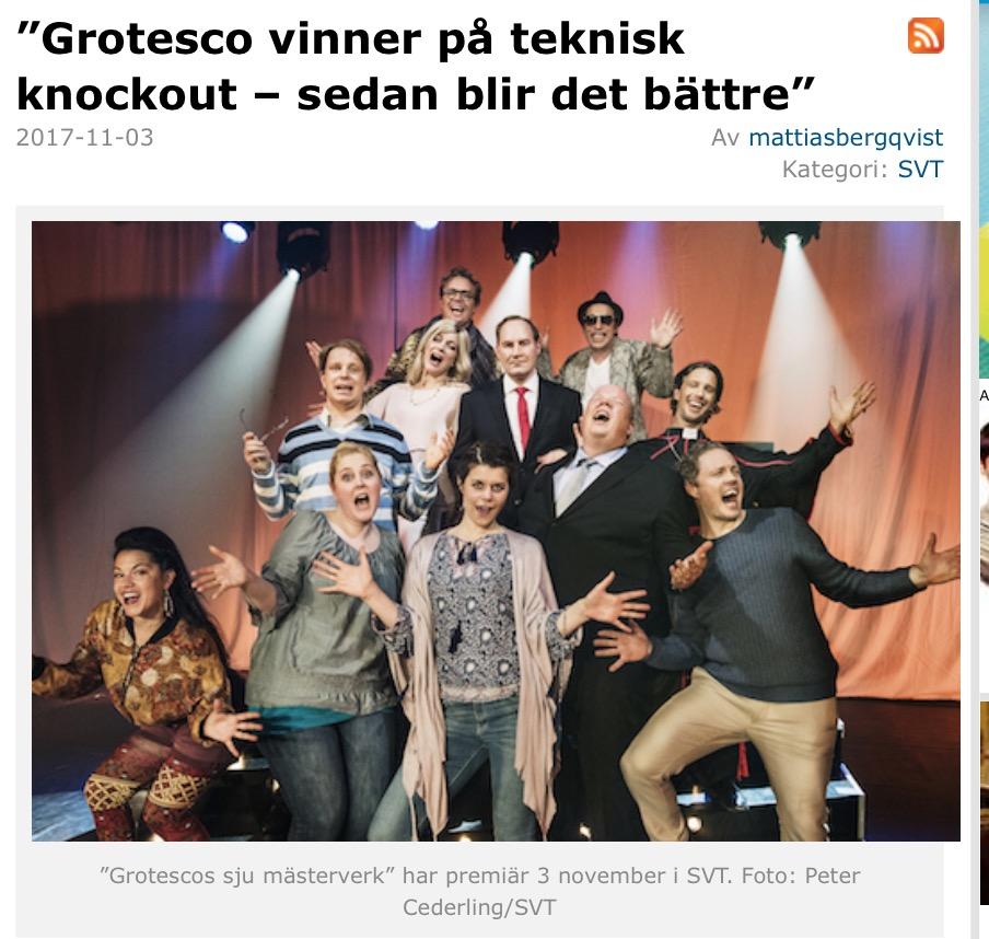 Expressen, recension av Grotescos serie om de sju mästerverken, 2017.