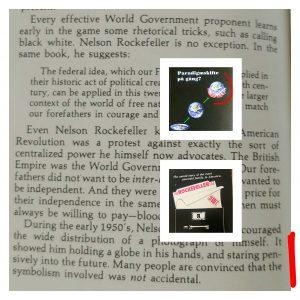 """Texten är ett utdrag ur boken """"Rockefeller Files"""" av Gary Allen. Notera bilden som spreds av Nelson Rockefeller på ca 1950/60-talet. Notera hur bildtemat återkommer exakt i flera andra sammanhang, både före och efter Nelson Rockefeller."""